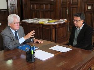 Roberto Engler e o secretário da Cultura, Marcelo Mattos.