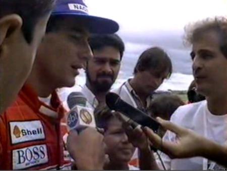 Ayrton Senna na inauguração do kartódromo.